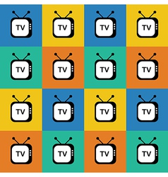 Retro tv web icon Seamless pattern background vector image