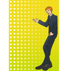 Businessman in suit showing something vector image