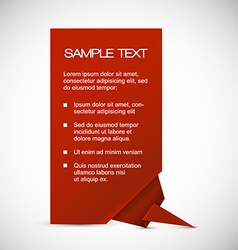 Red card with origami corner vector image