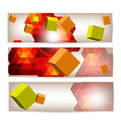 Set of banners with 3d geometrical elements vector