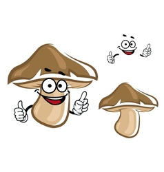 Cartoon brown forest mushroom character vector