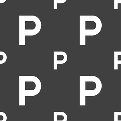 parking icon sign Seamless pattern on a gray vector image