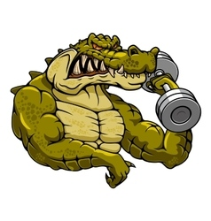 Cartoon crocodile mascot with dumbbell vector image