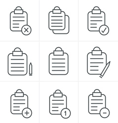 Line icons style isolated clipboard list icons set vector