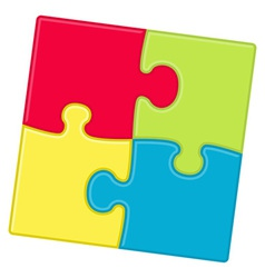 Puzzle pieces background with four different color vector