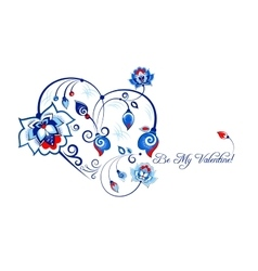 Valentine card with blue flowers in slavic style vector