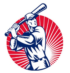 american baseball player retro vector image