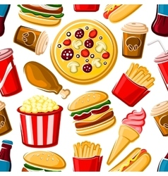 Seamless pattern of fast food dishes and drinks vector