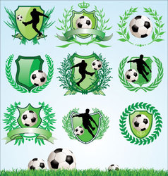 Soccer shield and laurel wreath set vector image