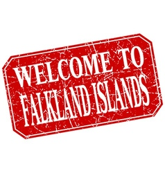 Welcome to falkland islands red square grunge vector