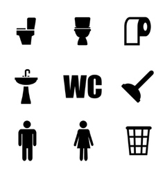 Black toilet icon set vector