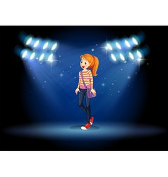 A girl with a slingbag in the middle of the stage vector image vector image