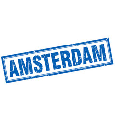 Amsterdam blue square grunge stamp on white vector