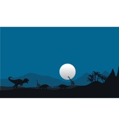 At night silhouette dinosaur vector