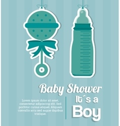 Baby shower design baby bottle and maraca icon vector