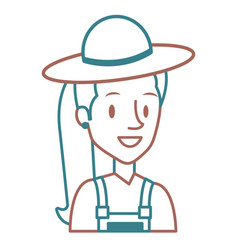 beautiful woman with hat avatar character vector image vector image