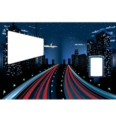 Billboards in Night City2 vector image