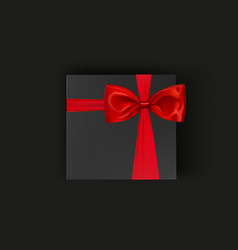 blank black gift box with red ribbon and bow vector image