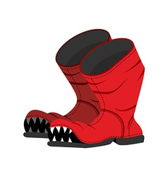 Broken boot with teeth Old shoes with hole Dreaded vector image