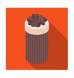 brown box in the form of a cylinder gift wrapping vector image