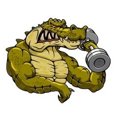 Cartoon crocodile mascot with dumbbell vector