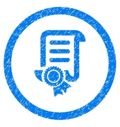 Certified scroll document rounded icon rubber vector