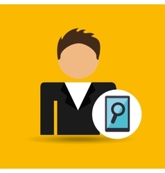 character man smartphone search icon vector image