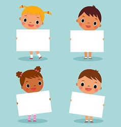 children holding blank sign vector image