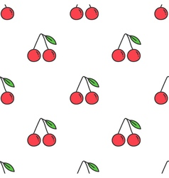 Colorful cartoon doodle cherry seamless pattern vector