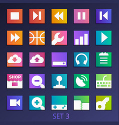 Colorful flat square icons-set 3 vector