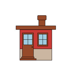 Colorful silhouette of facade small house with vector