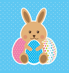 cute brown rabbit sitting with decorative eggs vector image