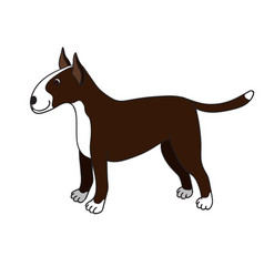 cute cartoon bullterrier isolated on white vector image vector image