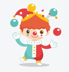 Cute clown with balls vector