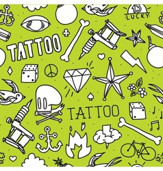 Doodle tattoo seamless background vector image vector image