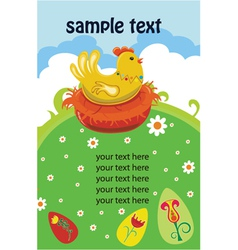 easter background with hen vector image