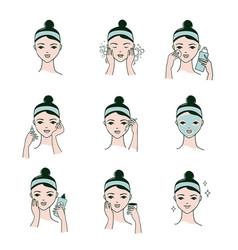Facial procedures icons vector