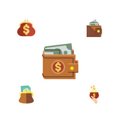 flat icon billfold set of money currency pouch vector image vector image