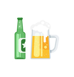flat style of beer bottle vector image vector image