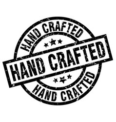 Hand crafted round grunge black stamp vector