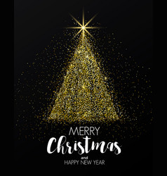 Holiday new year card- golden christmas tree vector