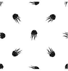 Jellyfish pattern seamless black vector