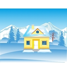 Lodge in wood in winter vector image