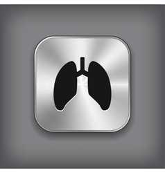 Lungs icon - metal app button vector