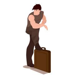 Man standing over a briefcase vector