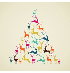 Merry christmas reindeer pine tree shape vector