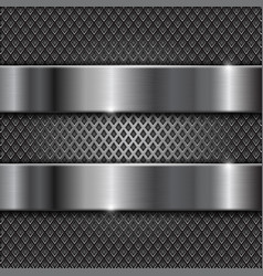 metal brushed shiny plates on perforated vector image