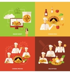 Pizza order and making icon vector