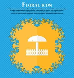 Sandbox icon sign floral flat design on a blue vector