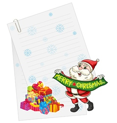 santaclause gift boxes and paper note vector image